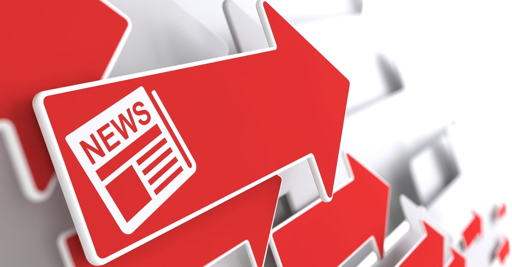 Newspaper Icon with News Title - Red Arrow on a Grey Background. Mass Media Concept.