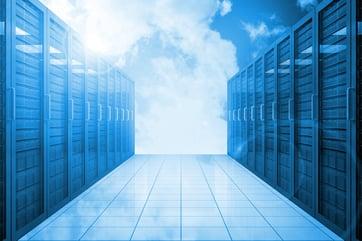 Server hallway in the blue sky