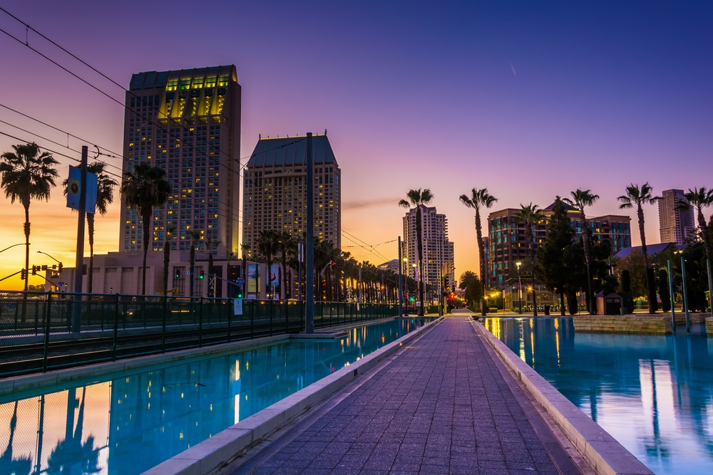 Skyscrapers and the Children's Pond at sunset, in San Diego, California..jpeg