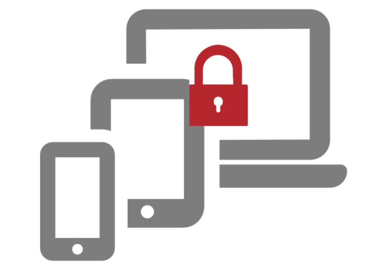 locked devices icon illustrates data on any device scurity